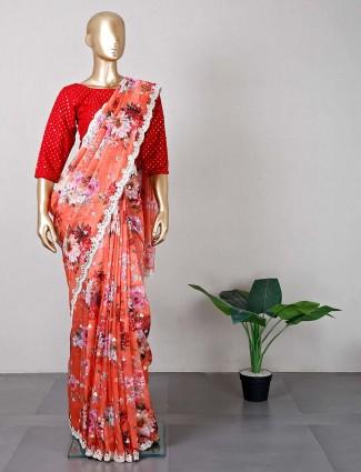 Latest orange tissue silk wedding wear saree