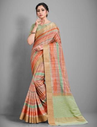 Latest peach color handloom cotton saree for women