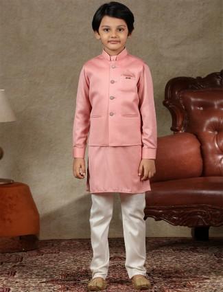 Latest peach cotton silk waistcoat set for boys