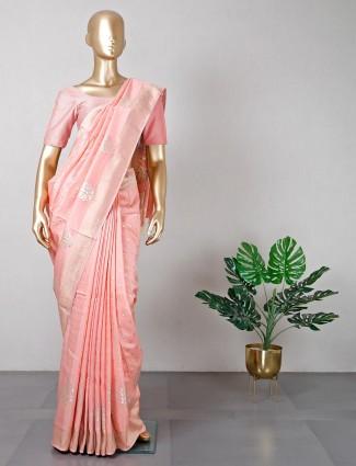 Latest peach cotton silk wedding wear saree