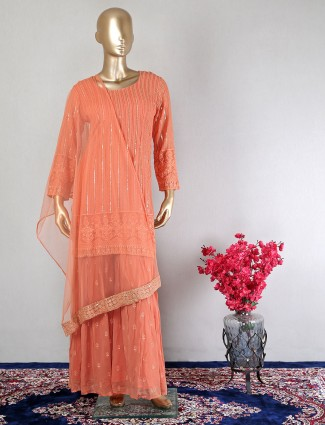 Latest peach georgette sharara suit for wedding