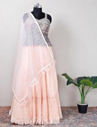 Latest peach georgette wedding lehenga choli