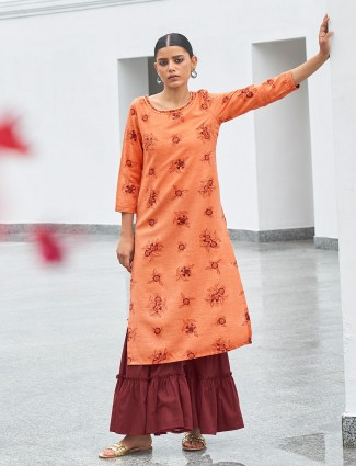 Latest peach printed cotton casual wear kurti