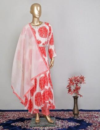 Latest peach satin silk salwar kameez for wedding wear