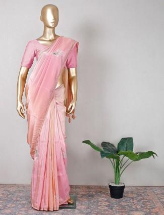 Latest peach silk saree festive collection