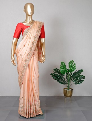 Latest peach silk saree for women