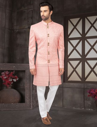 Latest pink cotton silk indo western for wedding