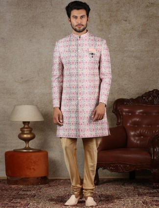 Latest pink cotton silk indo western special for wedding