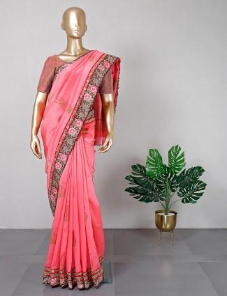Latest pink festive wear silk saree for women
