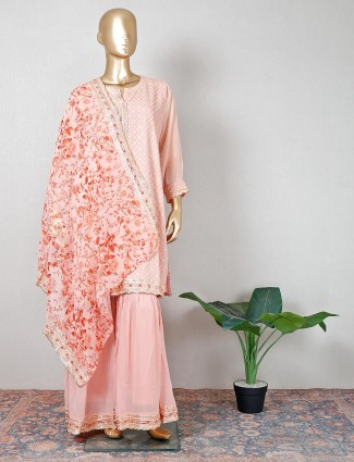 Latest pink georgette salwar kameez for party functions