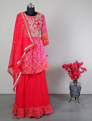 Latest pink lehenga style salwar suit