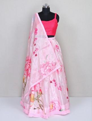 Latest pink organza tissue party wear lehenga