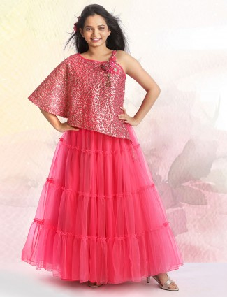 Latest pink party wear gown