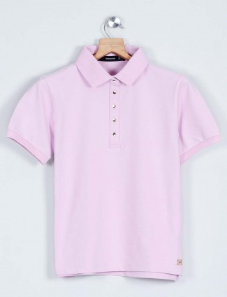 Latest pink polo nack top for women