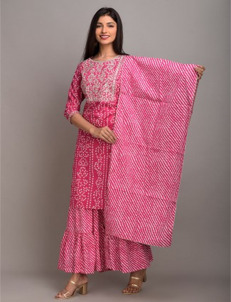 Latest pink printed festive ceremony sharara suit