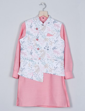 Latest pink shade cotton kurta with waistcoat