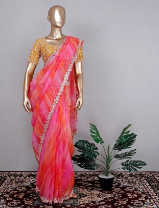 Latest pink tusssar silk wedding wear saree with raedy made blouse