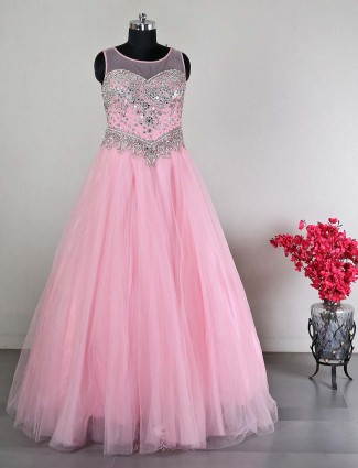 Latest pink wedding gown in net