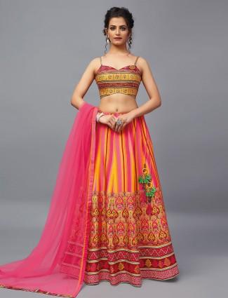 Latest pink wedding wear raw silk lehenga