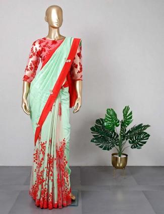 Latest pista green cotton silk saree