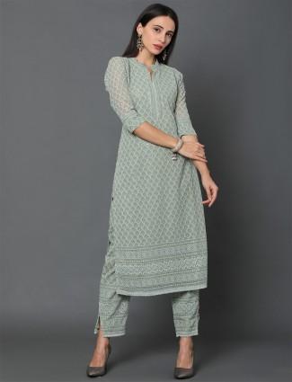 Latest pista green georgette festive wear salwar suit