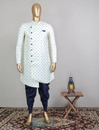 Latest pista green printed indowestern sherwani for mens