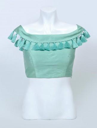 Latest pista green raw silk readymade blouse