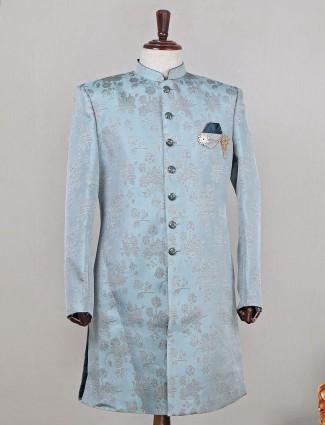 Latest pista green raw silk wedding wear indowestern sherwani