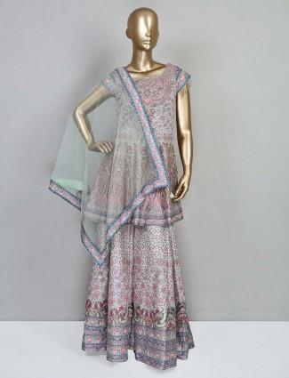 Latest pista green silk festive wear salwar kameez
