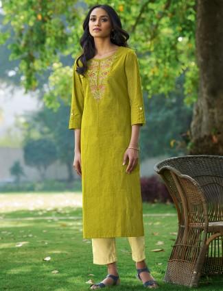 Latest printed casual wear green kurti in cotton