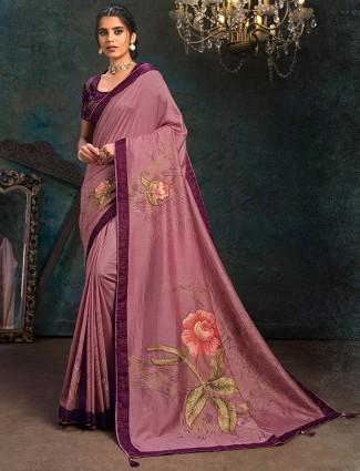 Latest Printed marble chffion online pink saree