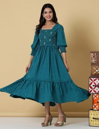 Latest prussian blue printed cotton casual wear kurti