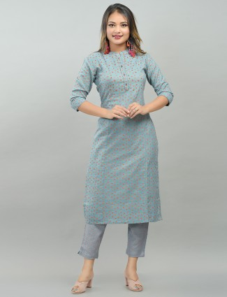 Latest punjabi style grey printed festive events pant suit