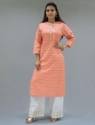 Latest punjabi style peach printed festive events palazzo suit