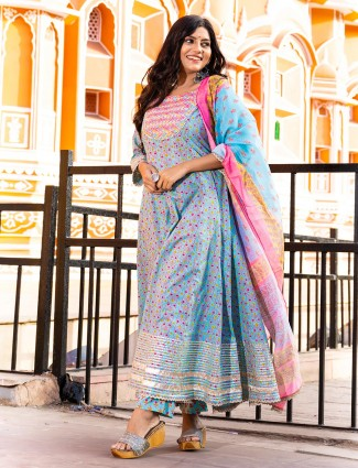 Latest punjabi style sky blue printed festive events pant suit