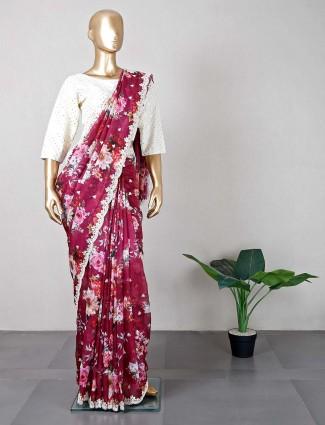 Latest purple wedding wear tissue silk saree