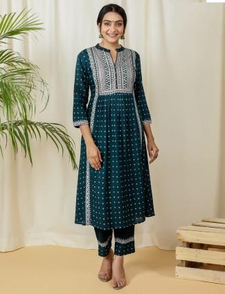 Latest rama blue cotton festive occasions punjabi style pant suit