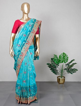 Latest rama green patola silk saree for wedding