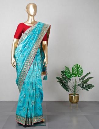 Latest rama green silk wedding wear saree