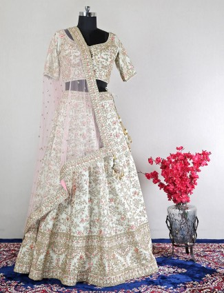 Latest raw silk green bridal wear lehenga choli
