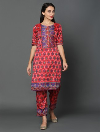 Latest red art silk pant style printed salwar kameez