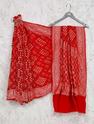 Latest red bandhej saree for wedding function