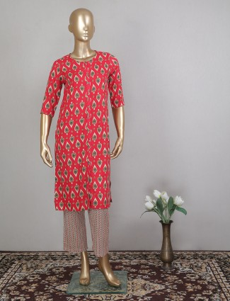 Latest red cotton pant style pant suit for festive