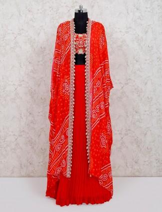Latest red designer georgette wedding wear lehenga choli