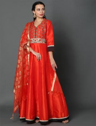 Latest red dupion silk festive anarkali salwar kameez