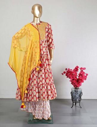 Latest red sharara style salwar kameez for wedding events