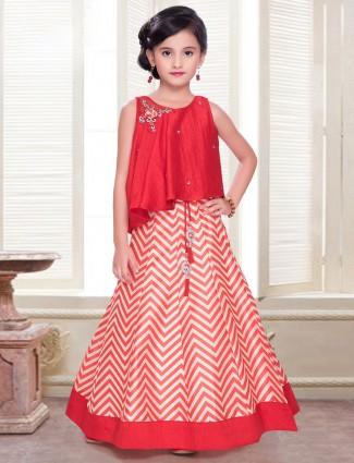 Latest red silk lehenga choli for your cute baby