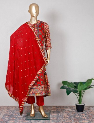 Latest red silk pant suit for festive session