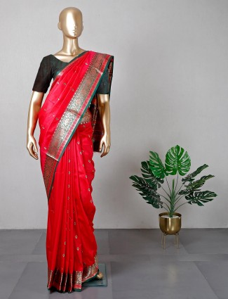 Latest red silk saree for women