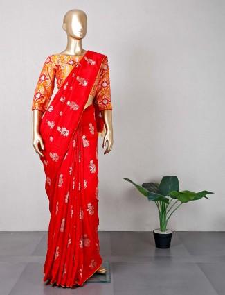 Latest red silk wedding occasions saree